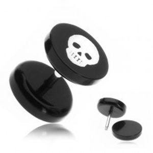 Akrylový fake plug do ucha - lebka kostlivce PC28.30