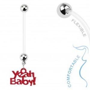 """Bioflex piercing do pupíku pro těhotné ženy, kuličky, nápis """"Yeah Baby!"""" SP35.29"""