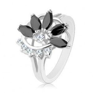 Blýskavý prsten ve stříbrném odstínu, čirý zirkonový oblouk, černý neúplný květ R31.26