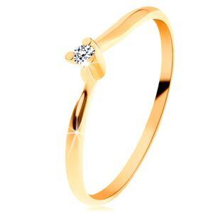 Blýskavý prsten ze žlutého 14K zlata - čirý broušený diamant, tenká ramena - Velikost: 51