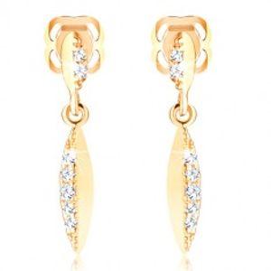 Briliantové náušnice ze žlutého zlata 585 - úzký list se vsazenými diamanty BT504.43