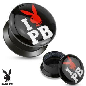 Černý šroubovací plug z akrylu - I love Playboy - Tloušťka : 8 mm