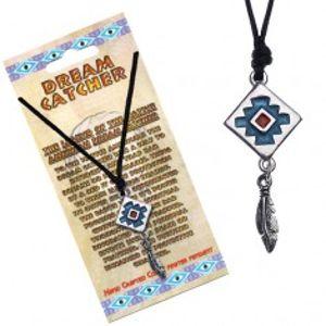 Černý náhrdelník, čtvercový lapač snů s modrým pozadím S5.2