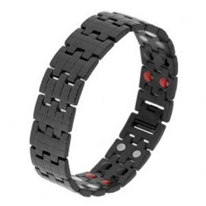 Černý náramek z oceli, strukturovaný povrch, barevné magnety SP28.18