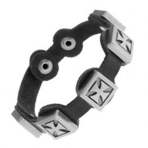 Černý náramek ze syntetické kůže, patinované maltézské kříže z oceli Y33.18