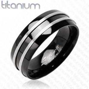 Černý prsten z titanu - dva stříbrné tenké pásy J1.9