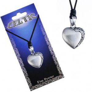 Černý šňůrkový náhrdelník, kovový přívěsek srdce, keltský uzel P3.5