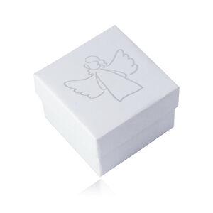 Dárková krabička na přívěsek nebo náušnice - bílá barva, motiv andílka
