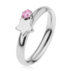 Dětský prsten z chirurgické oceli, stříbrná barva, hvězda a růžový zirkon H4.10