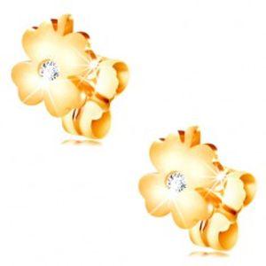 Diamantové náušnice ze žlutého 14K zlata - lesklý čtyřlístek s čirým briliantem BT502.32