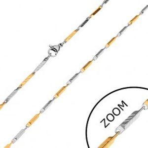 Dvoubarevný řetízek z chirurgické oceli, úzké zkosené hranoly se zářezy, 2 mm Z28.18
