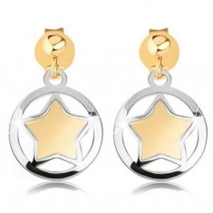 Dvoubarevné náušnice z 9K zlata - matná hvězdička v lesklém obrysu kruhu GG81.03