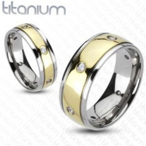 Dvoubarevný titanový prsten - šest zirkonů D6.1