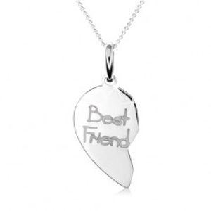 """Dvojitý stříbrný náhrdelník 925, dvojpřívěsek ve tvaru srdce, nápis """"Best Friend"""" SP08.22"""