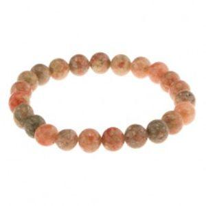 Elastický náramek, korálky z přírodního kamene, zelené a oranžové odstíny Z35.1