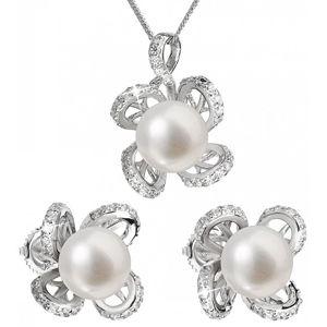 Evolution Group Luxusní stříbrná souprava s pravými perlami Pavona 29016.1 (náušnice, řetízek, přívěsek)