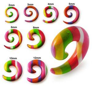 Expander do ucha - spirála s barevnými proužky - Tloušťka : 6 mm