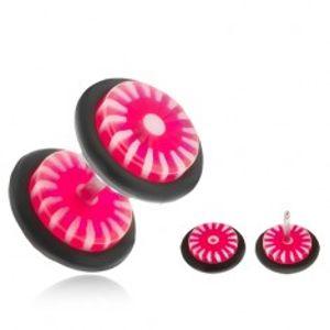 Fake plug do ucha - kolečka z akrylu, růžovo-bílé slunce PC27.01