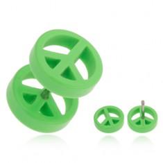 Falešný plug do ucha z akrylu, světle zelený symbol míru PC20.27