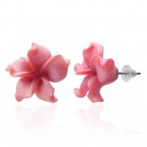 Fimo náušnice kytička - zvlněné růžové lupeny AA04.29