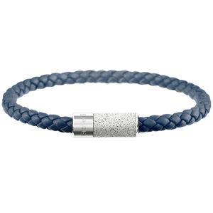 Gravelli Námořnicky modrý kožený náramek s betonovou ozdobou Unity ocelová/šedá GJBUSLG141NB 20,5 cm