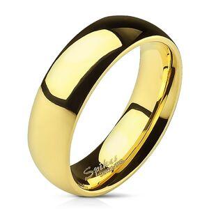 Hladký ocelový prsten ve zlaté barvě - 6 mm - Velikost: 70