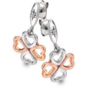 Hot Diamonds Bicolor stříbrné čtyřlístkové náušnice s diamanty Lucky in Love DE635