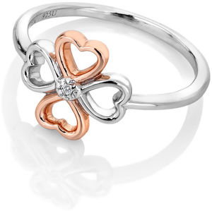 Hot Diamonds Bicolor stříbrný čtyřlístkový prsten s diamantem Lucky in Love DR216 56 mm