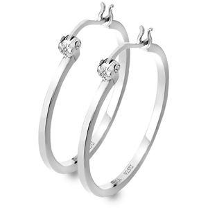 Hot Diamonds Stříbrné kruhové náušnice s diamanty Hoops DE625