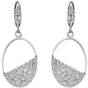 Hot Diamonds Stříbrné oválné náušnice s diamanty Horizon Topaz DE622