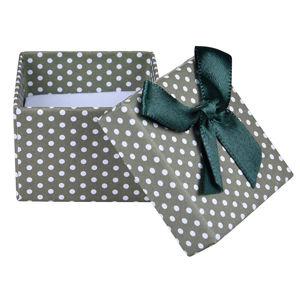 JK Box Zelená puntíkatá krabička na náušnice nebo prsten KKK-3/A19