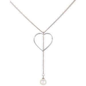 JwL Luxury Pearls Ocelový náhrdelník se srdíčkem a pravou perlou JL0470CH