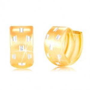 Kloubové náušnice ve 14K zlatě - širší kroužek s drobnými zářezy GG217.45