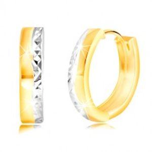 Kloubové náušnice ze 14K zlata s vybroušenou zvlněnou linií z bílého zlata GG218.05