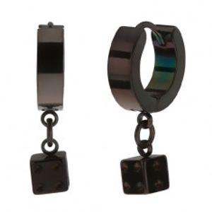 Kloubové ocelové náušnice, černá barva, lesklý povrch, hrací kostka SP34.23