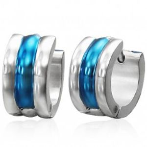 Kloubové ocelové náušnice, stříbrná a modrá barva, tři vypouklé linie SP52.01