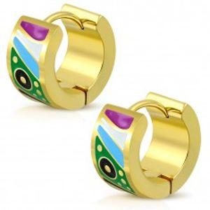 Kloubové ocelové náušnice zlaté barvy, glazované útvary v pestrých barvách AA13.06