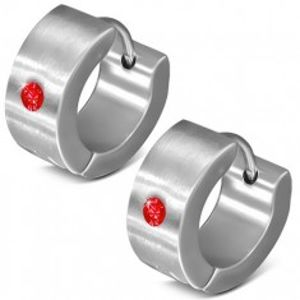 Kruhové kloubové náušnice z oceli 316L, zrcadlový lesk, červený zirkonek U26.04