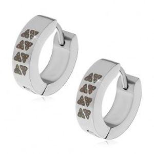 Kloubové náušnice z oceli 316L, stříbrná barva, kroužky s černými trojúhelníky X04.05