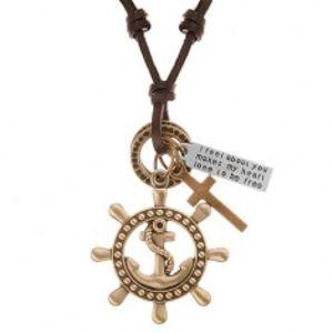 Kožený náhrdelník hnědé barvy, přívěsky - kormidlo s kotvou, kříž, známka Y37.13