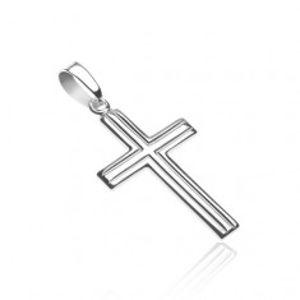 Křížek ze stříbra 925 - dvojité rovnoběžné pásy X35.4