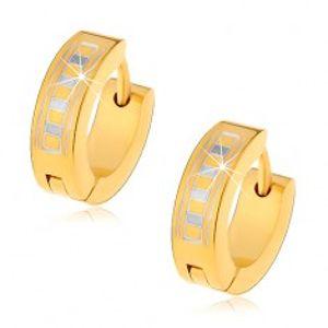 Lesklé kruhové náušnice z oceli 316L ve zlatém odstínu s řeckým vzorem G7.26