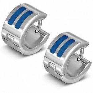 Lesklé stříbrné náušnice z oceli, kruhy s modrými pásy AA36.25
