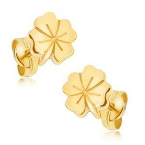 Lesklé zlaté náušnice 585 - čtyřlístek pro štěstí, ozdobné rýhování GG18.05