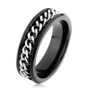 Lesklý černý prsten z oceli 316L, řetízek ve stříbrném odstínu HH9.15