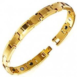 Lesklý náramek z wolframu zlaté barvy, zkosené okraje, magnetické kuličky X27.4