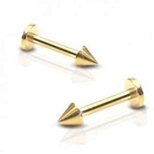 Lesklý ocelový piercing do brady - labret s hrotem, zlatá barva PC21.20