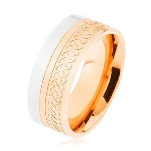 Lesklý prsten, ocel 316L, dvoubarevné provedení, keltský vzor - Velikost: 65