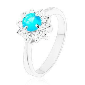 Lesklý prsten s úzkými hladkými rameny, zirkonový květ modré a čiré barvy - Velikost: 52