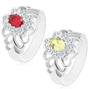 Lesklý prsten s vyřezávanými rameny, broušený oválný zirkon s čirou obrubou V14.10